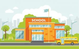 Featured Image: BJA Solicitation. A drawing of a school building.
