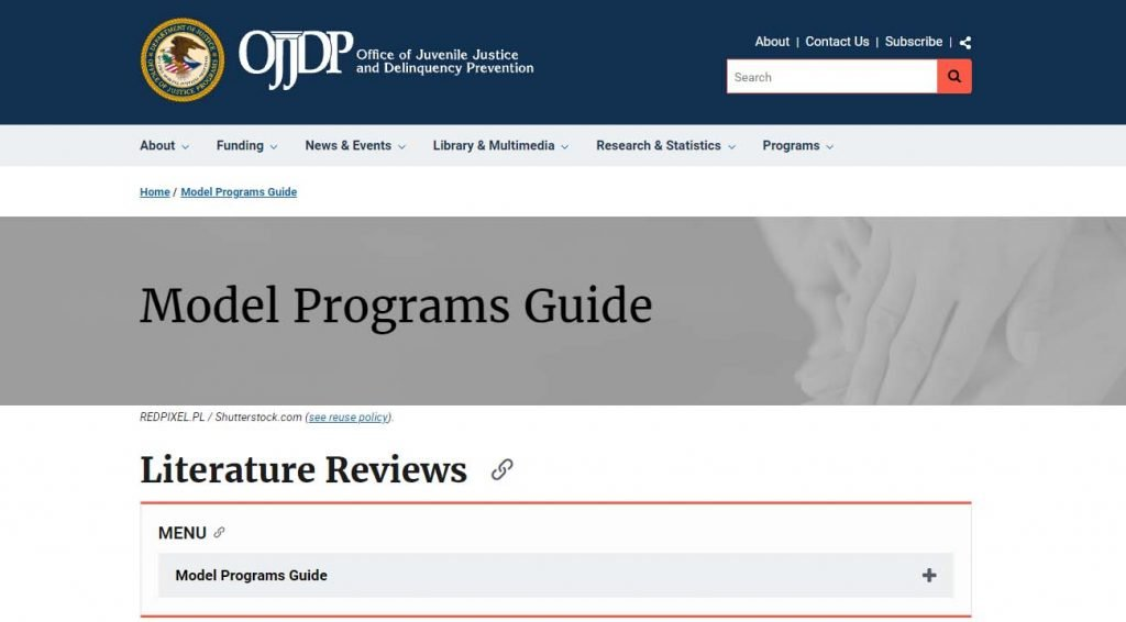 An image of the Model Programs Guide Literature Reviews website